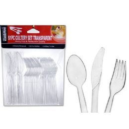 72 Units of 51 Pc Transparent Cutlery Set - Disposable Cutlery