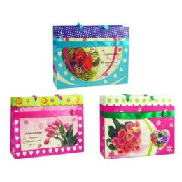 144 Units of Gift Bag With Button Flower 3 Assorted - Gift Bags Assorted