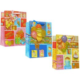 144 Units of Bag Xl B-Day 3d 38x30x10cm 3as - Gift Bags