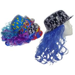 "72 Units of HAT WITH LONG HAIR 4 DESIGNSUPC. 13.75"" LONG HAIR - Costumes & Accessories"