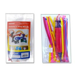 144 Units of BALLOONS 30TWISTY W/AIR PUMP 35070A.35072A. 35072. - Party Favors