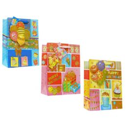 144 Units of Bag L B-Day 3d 34x26x10cm 3ass - Gift Bags