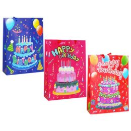 144 Units of Gift Bag Xl H B'day W /glitter30x10.5x38.5cm - Gift Bags