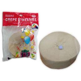 96 Units of STREAMER WHITE 1PCS 4.5X50CM - Streamers & Confetti