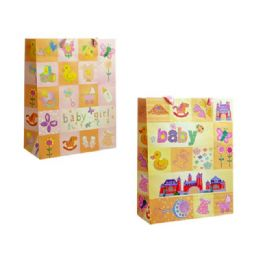 144 Units of Bag Xl Bb Gl 34x26x10 2asst Design - Gift Bags