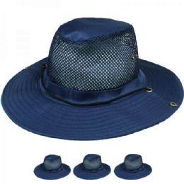 24 Units of Solid Blue Summer Hat With Netted Top - Sun Hats