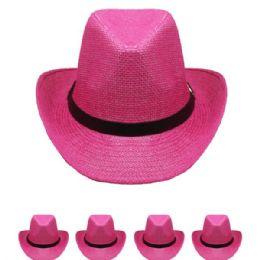 24 Units of Western Cowboy Hat In Pink - Cowboy & Boonie Hat