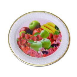 48 Units of round goldtrim tray fruit design - Serving Trays