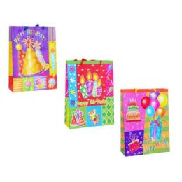 144 Units of Gift Bag Birthday W/gl 19.6x9x24.5cm - Gift Bags