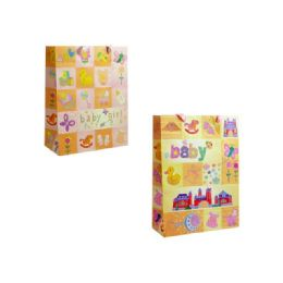 144 Units of Bag Baby Gift W/glitter M19.6x9x24.5cm - Gift Bags