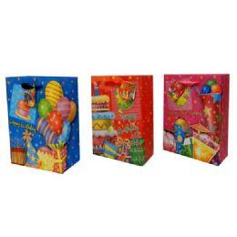 144 Units of BAG M BD GL 24.5X19.6X9 3ASST DESIGN - Gift Bags Assorted