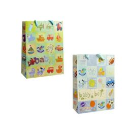 144 Units of Bag L Bb Gl 34x26x10 2asst Design - Gift Bags Baby