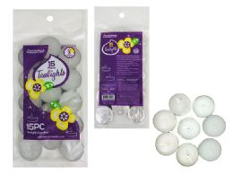 96 Units of CANDLE 15PC IN BAG WT CLR PRESSED TEALIGHTS - Candles & Accessories