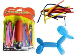 96 Units of Balloons 30 Twisty With Air Pump - Balloons & Balloon Holder
