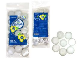 72 Units of CANDLE 18PC IN BAG WT CLR PRESSED TEALIGHTS - Candles & Accessories