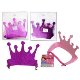 144 Units of Eva Crown In Pink & Purple - Costumes & Accessories