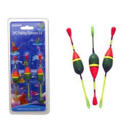 """144 Units of Fishing Spinners 3pc 3.6"""" Green+orange Clr - Fishing Items"""