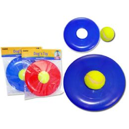 "96 Units of FRISBEE 8"" DIA+TENNIS BALLHC+OPP. BLUE RED - Pet Toys"
