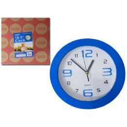 "24 Units of Clock 10.5"" 4asst Clr - Wall Decor"