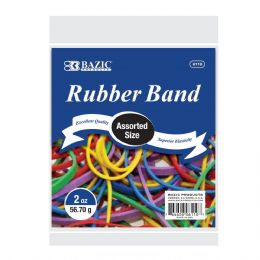 72 Units of BAZIC 2 Oz./ 56.70 g Assorted Sizes and Colors Rubber Bands - Rubber Bands