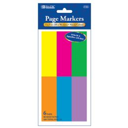 "144 Units of 80 Ct. 1"" X 3"" Neon Page Markers (6/pack) - Dry Erase"
