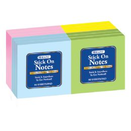 "24 Units of BAZIC 100 Ct. 3"" X 3"" Stick On Note (12/Shrink) - Note Books & Writing Pads"