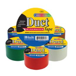 """108 Units of BAZIC 1.88"""" X 10 Yard Assorted Colored Duct Tape"""