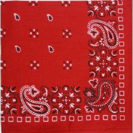 120 Units of Bandana--Red Paisley Print 22x22 Inch Square 100% Cotton, - Bandanas