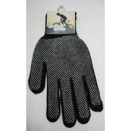 48 Units of Sports Gloves with Gripper Palm--Black only - Knitted Stretch Gloves