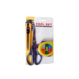 144 Units of Tool Set 3pc/set Knife+tape+scissors - Hardware Miscellaneous
