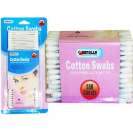 60 Units of 550 Piece Cotton Swabs - Cotton Balls & Swabs