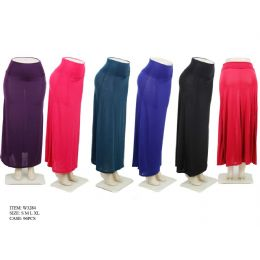 96 Units of Ladies Solid Color Long Skirt - Womens Skirts