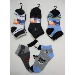 180 Units of Boy's Printed Anklet Socks 2-4 - Boys Ankle Sock
