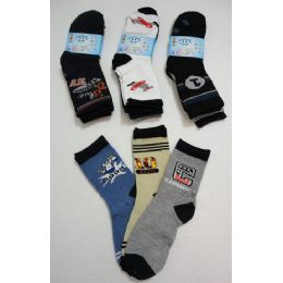 180 Units of Boy's Printed Crew Socks 6-8 - Boys Crew Sock