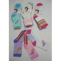 180 Units of Girl's Printed Crew Socks 6-8 - Girls Crew Socks