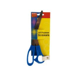 "72 Units of Wholesale 8"" Blue All Purpose Scissors - Scissors"