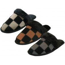 24 Units of Men's Leather Suede Upper Square Patch With Faux for Cuff Slippers - Men's Slippers