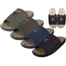 36 Units of Men Open Toes Embroidery Slippers - Mens Slippers