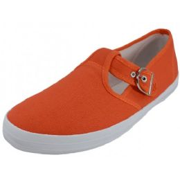 24 Units of Women's Solid T-Trap Canvas SHOES In Mandarin Red Only