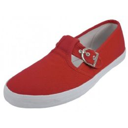 24 Units of Women's Solid T-Trap Canvas Shoes In Bitter Sweet Red Only - Women's Flats
