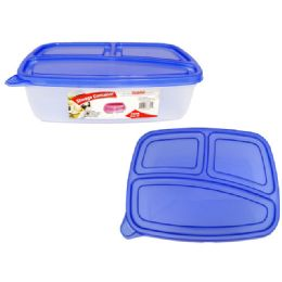 72 Units of 3 Section With Lids Food Prep Containers Stackable - Kitchen Gadgets & Tools