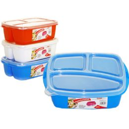 72 Units of 3 Section Food Storage With Lids - Storage Holders and Organizers