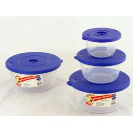 48 Units of Storage Container Round 3 Piece Blue - Food Storage Containers
