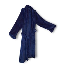 12 Units of Unisex Mink Touch Luxury Robe In Navy - Bath Robes