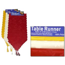 """288 Units of TABLE RUNNER 13X46"""" SINKWHITE ,RED ,YELLOW CLR - Table Cloth"""