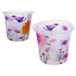 48 Units of Plastic Trash Can With Assorted Print Designs - Waste Basket
