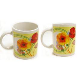 72 Units of MUG 2PC 11OZ FLOWER DESIGN - Coffee Mugs
