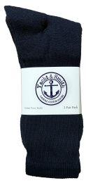 120 Units of Yacht & Smith Men's Cotton Terry Cushioned Crew Socks Navy Size 10-13 Bulk Packs - Mens Crew Socks