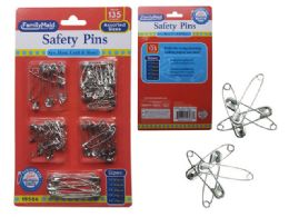 144 Units of 135 Piece Jumbo Size Safety Pin - Sewing Supplies