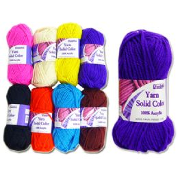 72 Units of Yarn Solid Color Fat 60gm 8asspur/bl/bl/br/rd/wh/yw/pk - Sewing Supplies